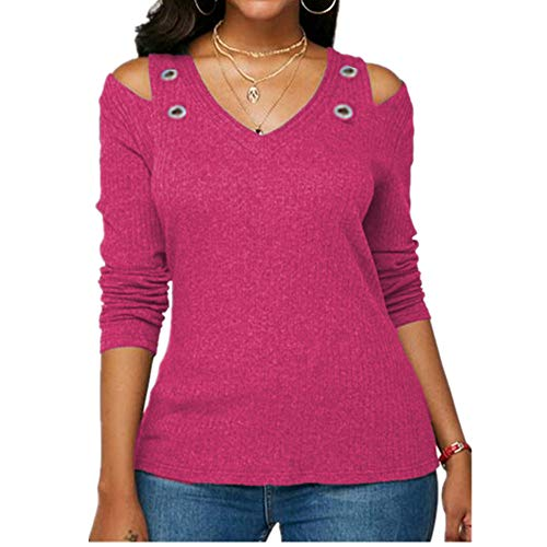Damen T Shirts V Ausschnitt Schulterfrei Langarm Tee Shirt Tops Oversized Frauen T-Shirt Gr. XXXXXL, rose