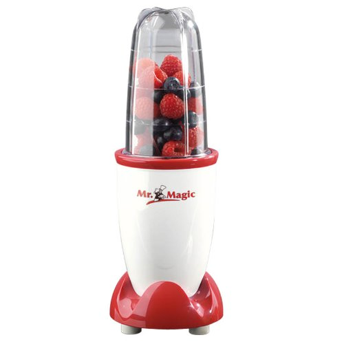 GOURMETmaxx Smoothiemaker - Mr. Magic | Mixer mit To-Go Becher | Platzsparender Standmixer für Smoothies, Cocktails und Soßen | Spülmaschinen geeignet (250 Watt, rot/weiß)