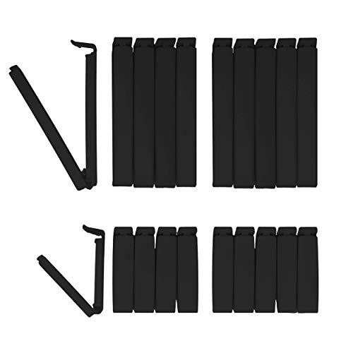 Black Edition BUNEO - Clips para bolsas (20 unidades) | 20 clips de cierre: 10 x negro (11 cm) + 10 x negro (6 cm)