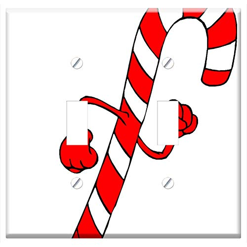 Switch Plate Double Toggle - Christmas Holiday Clip Art Candy Cane Red Hat