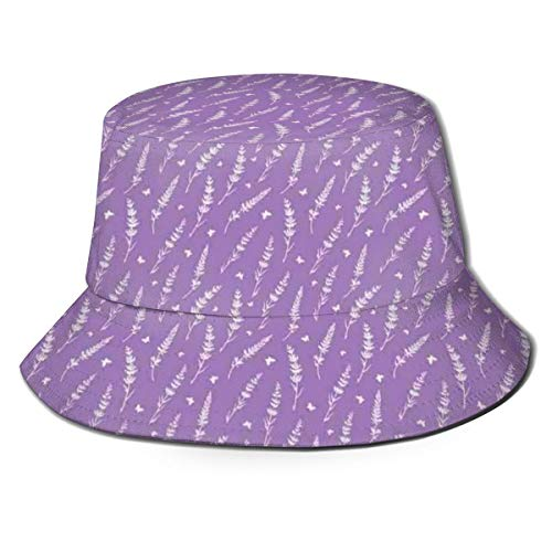 Unisex Summer Fisherman Cap,Romantic Lavender and Butterflies Pattern Aromatic Herbs Wildflowers Concept,Travel...