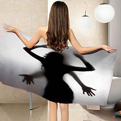 VJEJSE Toalla de Playa de Microfibra toalla de baño 80x160 cm Toalla de Piscina Grande Vista posterior de la figura femenina por Yoga, Seque Rápidamente, Absorbente, Prevención de Arena para Viaje, Pi