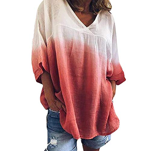 HIRIRI Women's Summer Casual T-Shirt Short Sleeve Loose Basic Tee V Neck Plus Size Tops Shirts Tie Dye Blouse Red