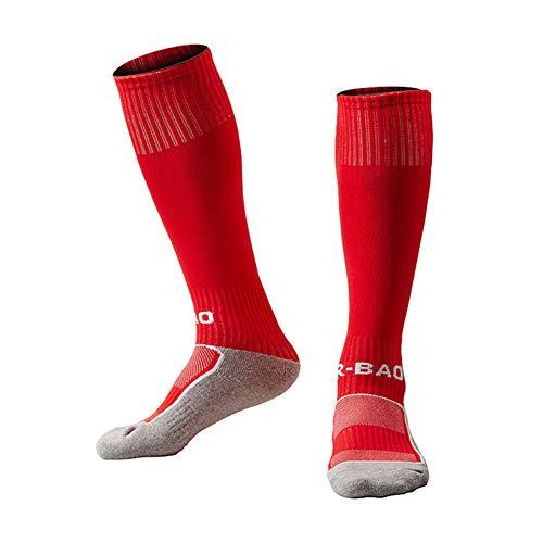 EQLEF Fußballsocken aus Baumwolle, leicht, schnelltrocknend, für Jungen von 6–7 Jahren, Unisex Kinder, rot, 2-5