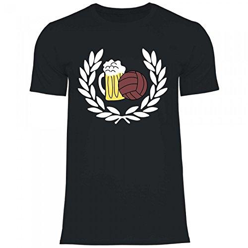 Royal Shirt df3 Herren T-Shirt Lorbeerkranz Fußball Bier | Geschenk Idee Party, Größe:L, Farbe:Black