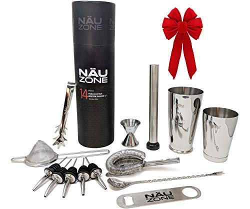 Professional Bartender Kit (14-Piece) | Cocktail Shaker Set | Bar Set with Bottom Weighted Stainless Steel Drink Shakers - Premium Mixology Bartending Kit | Deluxe Gift Packaging