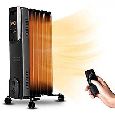 Electric Radiator Heater - 1500W Oil Space Heater with Remote, Allergy-Friendly, No Noise, Dual-Safety Protection, Oil Filled Heater with Digital Thermostat, Full Room Heater Indoor Portable Electric