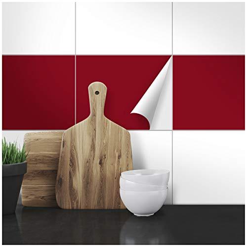 Wandkings Fliesenaufkleber - Wähle eine Farbe & Größe - Weinrot Seidenmatt - 20 x 25 cm - 20 Stück für Fliesen in Küche, Bad & mehr