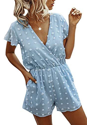BTFBM Women Fashion Wrap V-Neck Swiss Dot Print Short Sleeve Elastic Waist Plain Summer Pockets Shorts Jumpsuit Romper (Blue, Large)