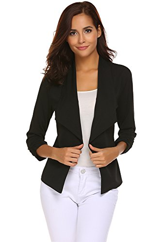 Women 3/4 Sleeve Blazers Open Front Cardigan Jacket Work Office Blazer (Black, (US 4-6) Small)
