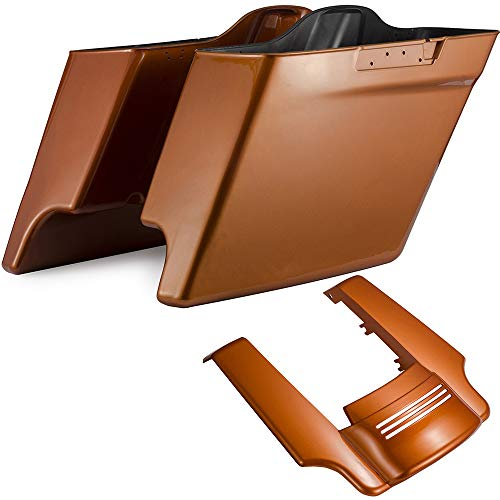 Lowest Price! Advanblack Amber Whiskey 4 1/2 inch Stretched Saddlebags Extended Rear Fender Extension Fit for 2014 2015 2016 2017 2018 2019 Harley Touring Road Glide Street Glide Road King