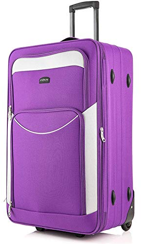 DK Luggage Starlite Lightweight Large Expandable Suitcases with 2 Wheels Purple