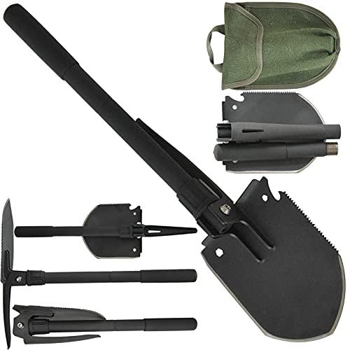 Pala de ejército plegable, herramienta de zanjas del ejército portátil con piqueta, supervivencia multifuncional pala de supervivencia aleación pesada resorte de acero de acero 21.3 pulgadas, para fue