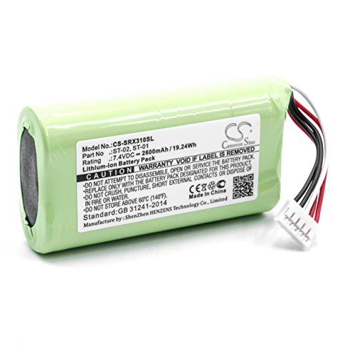 vhbw Batería Compatible con Sony SRS-X3 Bluetooth Altavoz, reemplaza Sony ST-01, ST-02 - (Li-Ion, 2600mAh, 7.4V) Batería de Repuesto