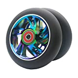 Z-FIRST 2pcs Replacement 120mm Pro Scooter Wheel with ABEC 9 Bearings Fit for MGP/Razor/Lucky Pro Scooters (W-Rainbow)