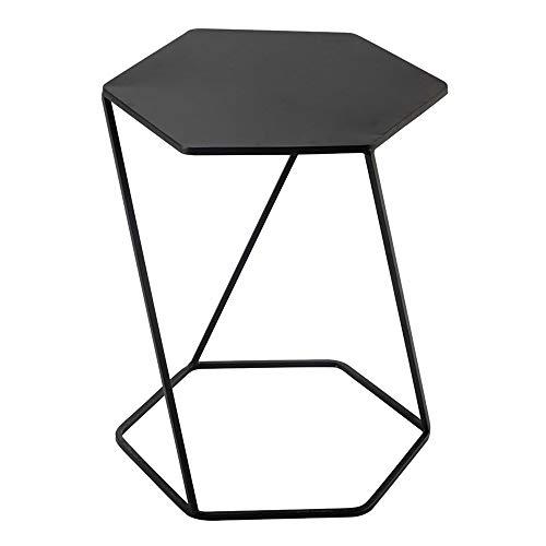 FUFU サイドテーブル 金属サイドテーブル、ベッドサイドテーブル/ソファテーブル/電話表は、ベッドサイド読書、ブラックを使用することができます (Co
