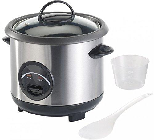 Rosenstein & Söhne Rice Kocher: Edelstahl-Reiskocher mit automatischer Warmhalte-Funktion, 0,6 Liter (Mini Reiskocher)