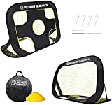 POWER GUIDANCE Foldable Soccer Goals for Outdoor Backyard, 2 in 1 Portable Soccer Net for Indoor Games, Pop Up Soccer Training Equipment for Shooting Practice, Portable with Carrying Bag