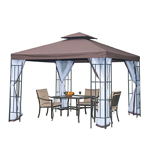 Outsunny 3 x 3 Meters Gazebo Marquee Metal Party Tent Canopy Pavillion Patio Garden Shelter Steel Frame with mesh sidewall - Coffee