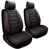 2 Front Bucket Seat Covers Fit Most Sedan SUV Truck Fit for Chevy Silverado Traverse Cobalt HHR Equinox Cruze Malibu Impala (2 PCS , Black and Red)