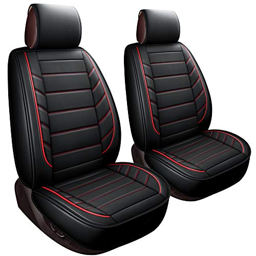 LUCKYMAN CLUB 2 Front Bucket Seat Covers Fit Most Sedan SUV Truck Fit for Chevy Silverado Traverse Cobalt HHR Equinox Cruze Malibu Impala Ford F150 F250 (2 PCS Front, Black and Red)