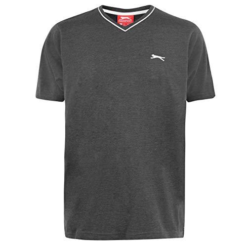Slazenger Herren V-Ausschnitt T Shirt Kurzarm Tee Top Bekleidung Grau XXXL
