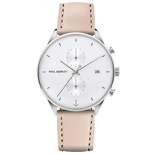 PAUL HEWITT Chronograph Damen Chrono Line White Sand - Chronograph Edelstahl (Silber) mit Stoppuhr und Lederarmband (Hazelnut) für Frauen, weißes Ziffernblatt