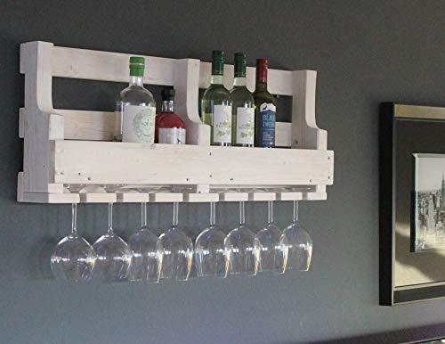 dekorie Holz Weinregal mit Gläserhalter fertig montiert Vintage Shabby weiß