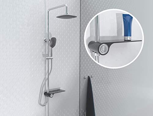 SCHÜTTE 60511 AQUASTAR Duschsystem ohne Armatur mit Ablage, Komplett Dusch-Set (Regendusche mit Wandhalterung, Duschsäule, Brausestange, Handbrause & Brauseschlauch) Schwarz