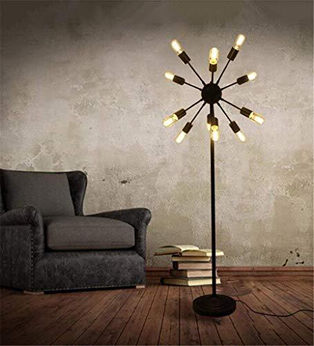 Staande lamp, staande lamp in de bodem, LED, creatief, industriële, retro lamp, ijzer, 12 koplampen, voor woonkamer, slaapkamer, studio, bar, staande lamp, bescherming van de ogen, verticale tafellamp, B-D