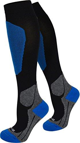 normani Kompressionsstrumpf Ski-kniestrümpfe mit Spezialpolsterung Farbe Blau Größe 39/42