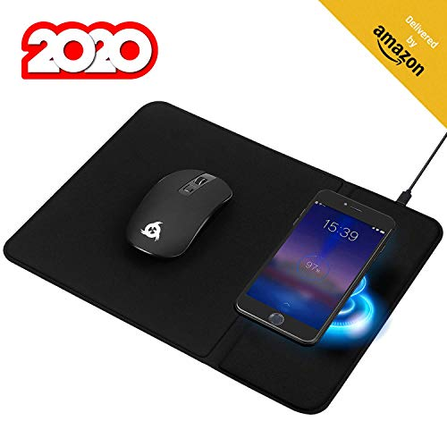 KLIM Inspiration + Makepad - Kabellose Maus und Mauspad mit Wireless Charger + Ergonomische Maus für PC Laptop Mac + Ladestation kompatibel mit iPhone Samsung Huawei LG und mehr + NEU 2020