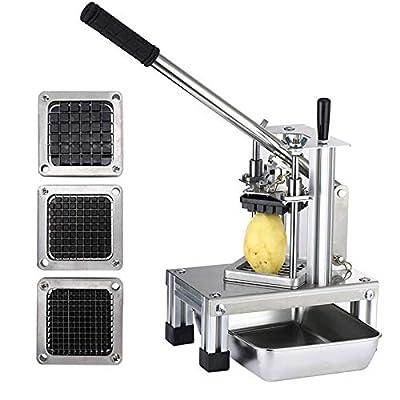 """4YANG Chipper de pommes de terre commerciales et Dicer de fruits légumes, Machine de coupe manuelle avec lames en acier inoxydable 304 de taille 1/4"""" 1/2"""" 3/8"""" Plaque en acier inoxydable gratuite"""