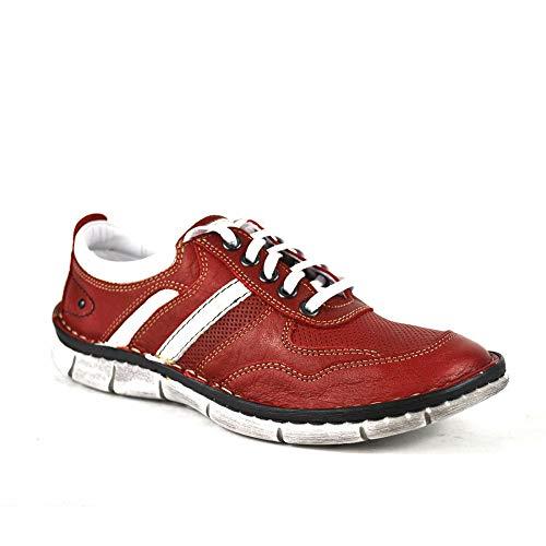 KRISBUT Schnürschuh Damen Leder Halbschuh Sneaker Farbe Rot, Schuhgröße 36