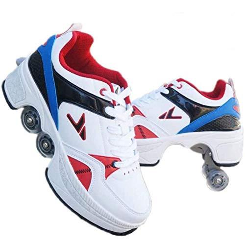 CHXY 2-in-1-Mehrzweckschuhe Rollschuhe Für Anfänger Unisex Boys Girls 4-Rad Verstellbare Inline-Skates Roller Blades Stiefel Wanderschuhe,Multi-34