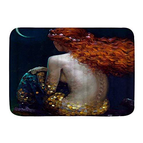 N\A Alfombras de Puerta, Sirena Hermosa Espalda Pintura de Tinta Desnuda Sexy, Piso de Cocina Alfombra de baño Alfombra Absorbente decoración de baño Interior Felpudo Antideslizante