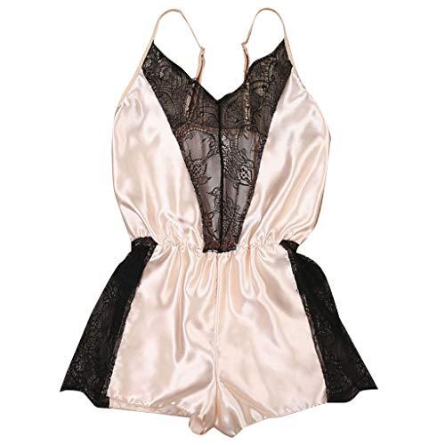 Spitze Satin Seide Pyjama Damen Strumpfhosen Anzüge Sexy Unterwäsche Jumpsuits GreatestPAK,Braun,L