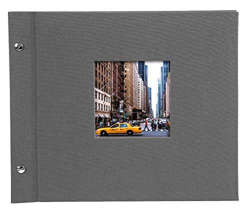 goldbuch 26725 Schraubalbum mit Bildausschnitt, Bella Vista, 30x25 cm, Fotoalbum mit 40 schwarze Seiten mit Pergamin-Trennblättern, Album erweiterbar, Fotobuch aus Leinen, Grau