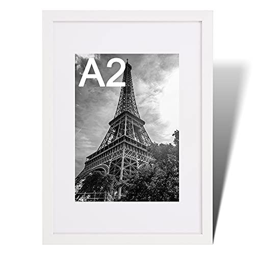 Fabian Clarke London Moderner weißer Bilderrahmen aus Holz mit weißem Passepartout zum Aufhängen im Hoch- oder Querformat (A2)