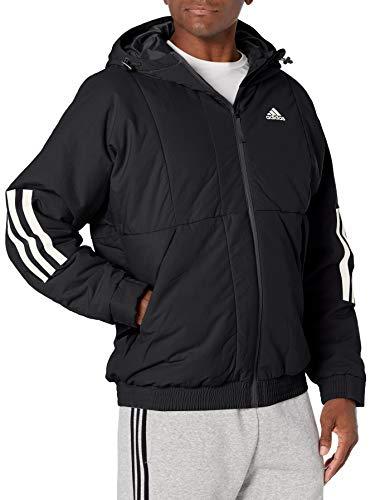 adidas Outdoor mens Back to School Hooded Jacket Black/White Medium