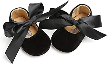 Baby Girls Mary Jane Flats Anti-Slip Rubber Sole Bow Toddler Princess Dress Shoes (4.72 inches (6-12 Months), Y-Black)
