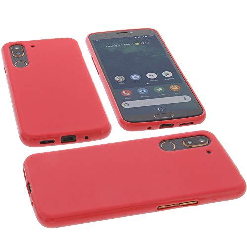 Hülle für Doro 8080 Tasche Gummi TPU Schutz Handytasche rot