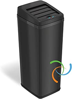 iTouchless Sliding-Lid Fully Automatic Touchless Sensor Trashcan, 14 Gallon / 52 Liter, Black