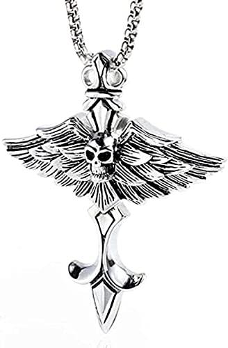 Colgante de cruz de calavera de acero inoxidable, colgante de ala del diablo, pluma punk, collar de titanio para hombre, adorno