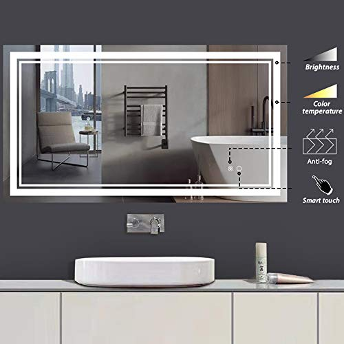 Keonjinn 40 x 24 Inch LED Bathroom Makeup Mirrors Wall Mounted Anti Fog & Dimmer Touch Switch Mirror,Adjustable White/Warm/Natural Lights(Horizontal/Vertical)