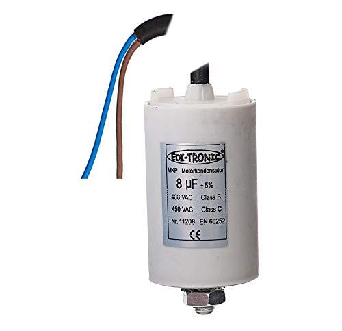 Kondensator Anlaufkondensator Motorkondensator Arbeitskondensator Kabel 8µF 450V