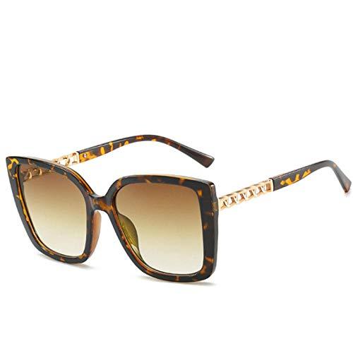 DLSM Gafas de Sol de Cadena Cuadrada para Mujeres Vintage Gafas de Sol de Gran tamaño Damas de Gran tamaño UV400 Pesca de conducción de Golf al montañismo Deportes al Aire Libre Gafas de Sol-Leopardo