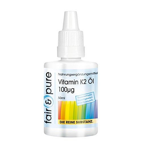 Vitamin K2 Öl 100mcg - natürliches Menaquinon aus Natto - vegan - all-trans MK7 - Vitamin K2-Tropfen - 50ml