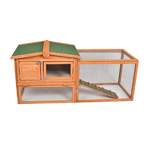 ECOLINEAR Chicken Coop Outdoor Rabbit Hutch Wooden Bunny...