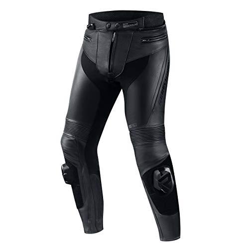 REBELHORN Fighter Pantalones de Cuero para Motocicleta, Doble y Triple Costura, ventilación, Malla de poliéster, Paneles Flexibles de Licra